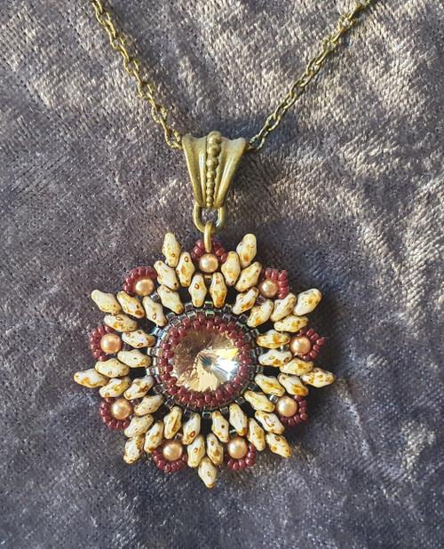 Handmade Star pendant necklace 55cm long - Brown, Travertine & Crystal