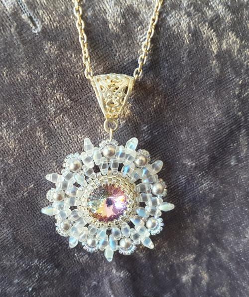 Handmade Star pendant necklace 52cm long - Silver & Crystal