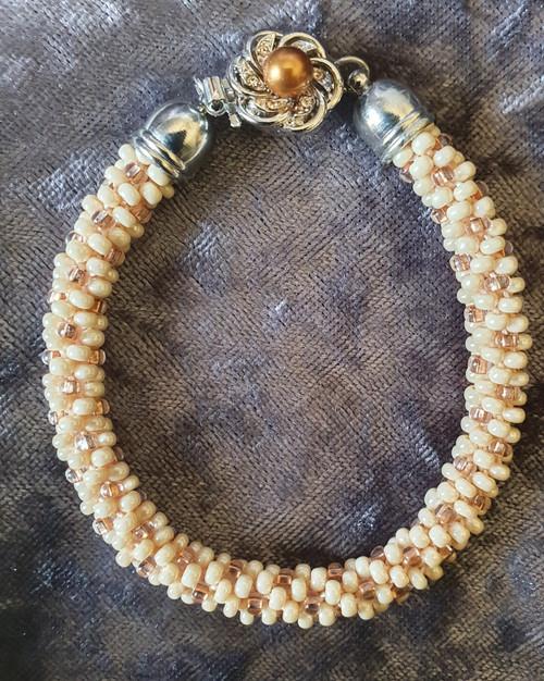 Handmade Bracelet - 19.5cm Cream & Brown Kumihimo with silver box clasp