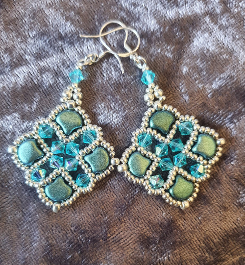 Handmade Earrings - Mint Green & Aqua AB Crystal  with Sterling silver hooks