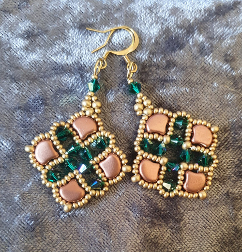 Handmade Earrings - Copper & Emerald  AB Crystal  with Gold hooks