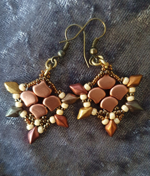 Handmade Earrings - Copper & Brown  with Ant Bronze hooks