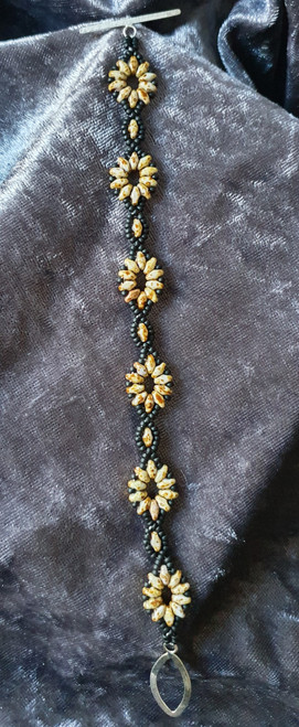 Handmade Bracelet - 20cm Travertine and matte black beads with Sterling Silver Toggle clasp