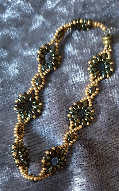 Handmade Bracelet - 20cm Gold & Irish Brown/Green beads with Ant Bronze magnetic clasp