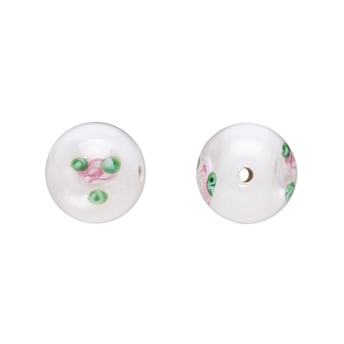 10-11mm - Czech - Op White, Pink Green - 4pk - Round Lampworked Glass with flower Design
