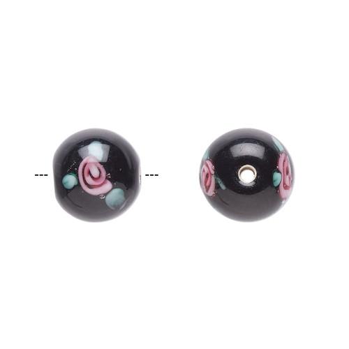 10-11mm - Czech - Op Black, Pink Green - 4pk - Round Lampworked Glass with flower Design