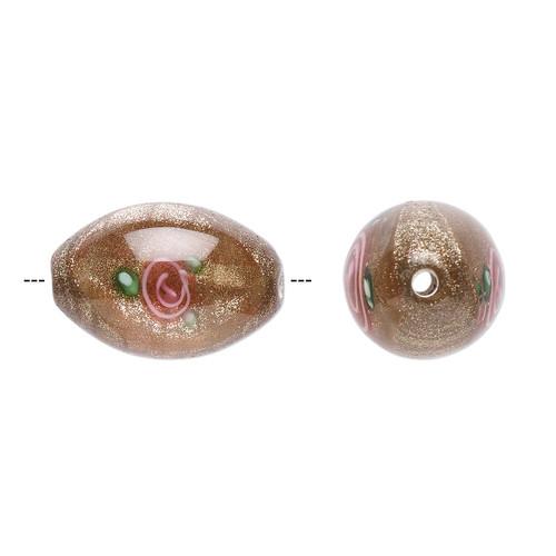 15-16mm x 10-11mm - Czech - Op Brown, Pink Green - 2pk - Oval Lampworked Glass with flower Design