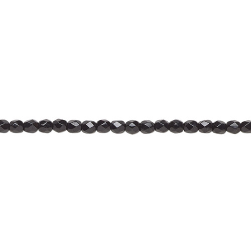 2.4-2.6mm - Czech - Opaque Jet - Strand (approx 80 beads) - Facted Round Fire Polished Glass
