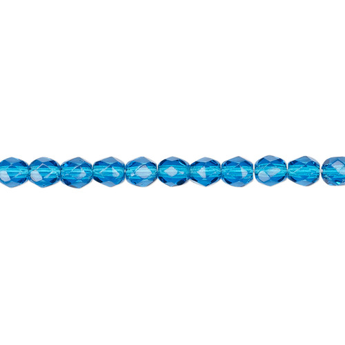 4mm - Czech - Transparent Dark Aqua Blue - Strand (approx 100 beads) - Faceted Round Fire Polished Glass
