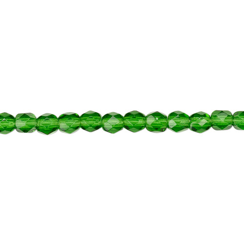 4mm - Czech - Transparent Emerald Green - Strand (approx 100 beads) - Faceted Round Fire Polished Glass