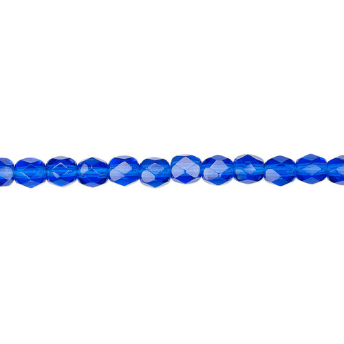 4mm - Czech - Transparent Cobalt - Strand (approx 100 beads) - Faceted Round Fire Polished Glass