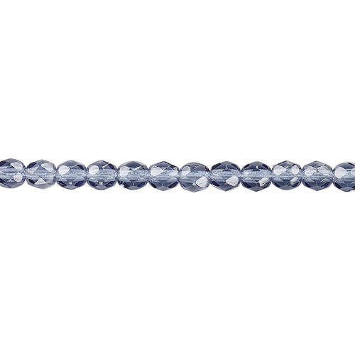 4mm - Czech - Montana Blue - Strand (approx 100 beads) - Faceted Round Fire Polished Glass