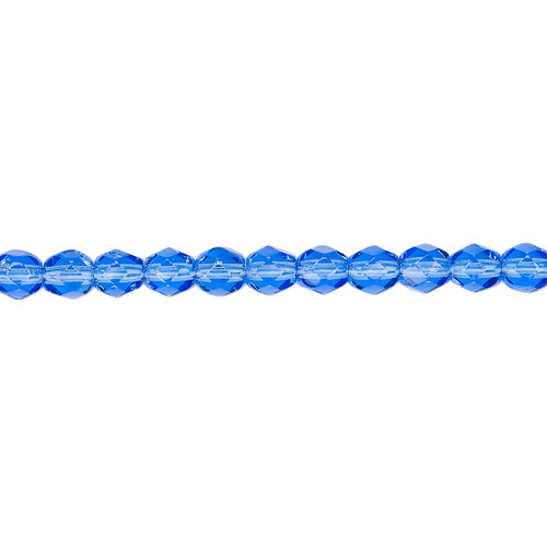 4mm - Czech - Light Cobalt - Strand (approx 100 beads) - Faceted Round Fire Polished Glass