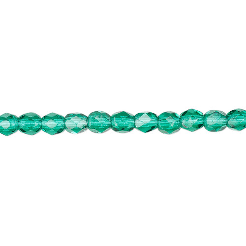 4mm - Czech - Teal - Strand (approx 100 beads) - Faceted Round Fire Polished Glass