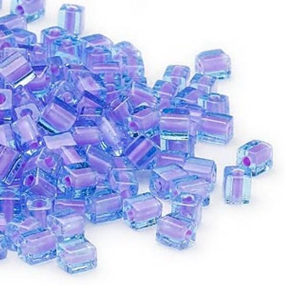 SB4-2640 - Miyuki - 4mm - Blue Colour Lined Violet - 25gms - 4mm Square Glass Bead