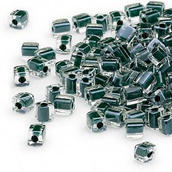 SB4-1106 - Miyuki - 4mm - Clear Colour Lined Black - 25gms - 4mm Square Glass Bead