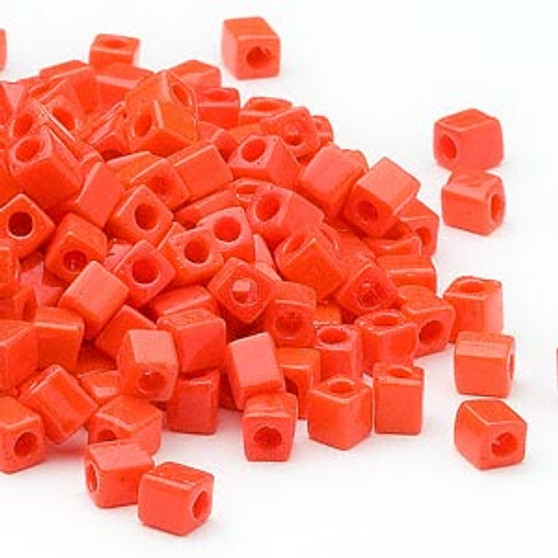 SB4-406 - Miyuki - 4mm - Opaque Orange - 25gms - 4mm Square Glass Bead