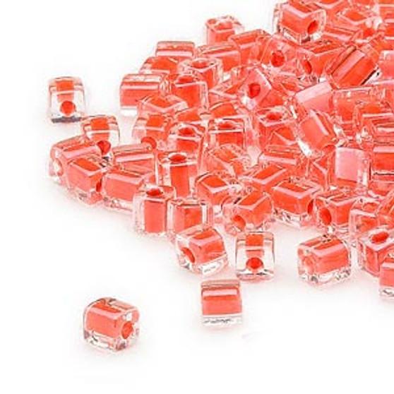 SB4-236 - Miyuki - 4mm - Clear Colour Lined Orange - 25gms - 4mm Square Glass Bead