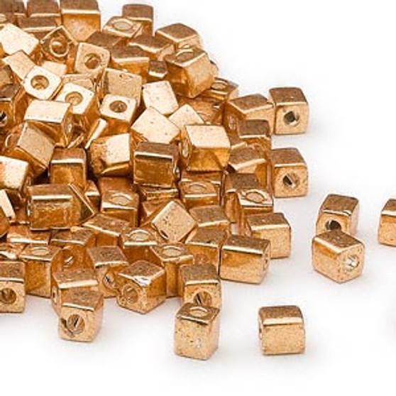 SB4-1053 - Miyuki - 4mm - Opaque Metallic Gold - 25gms - 4mm Square Glass Bead