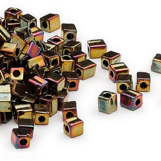 SB4-462 - Miyuki - 4mm - Opaque Metallic Fuschia - 25gms - 4mm Square Glass Bead