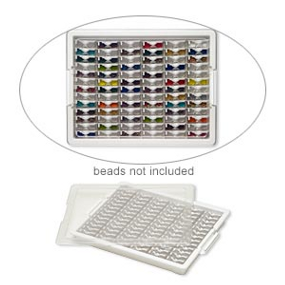 Organizer, Tiny Containers Tray™, Bead Storage Solutions™, plastic, clear and opaque off-white, 13-3/4 x 10-1/2 x 2 inches with (78) 2 x 1-1/8 x 3/4 inch containers. Sold per 82-piece set.