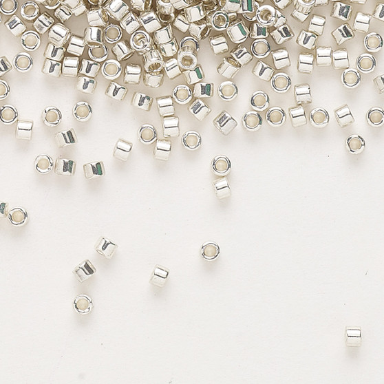 DB0035 - 11/0 - Miyuki Delica - opaque galvanized silver - 7.5gms - Cylinder Seed Beads
