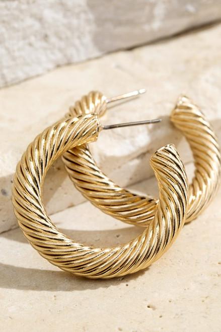 Gold Spiral Mini Hoops