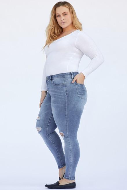 Curvy Medium Wash Distressed Skinny Jeans