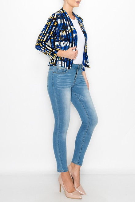 Curvy Blue Contrast Blazer