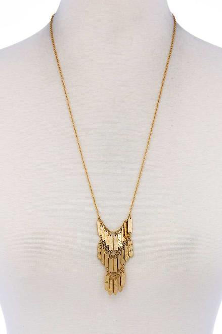 Long Hammered Fringe Necklace