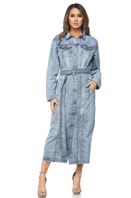 Heyley Denim Long Trench Coat Dress
