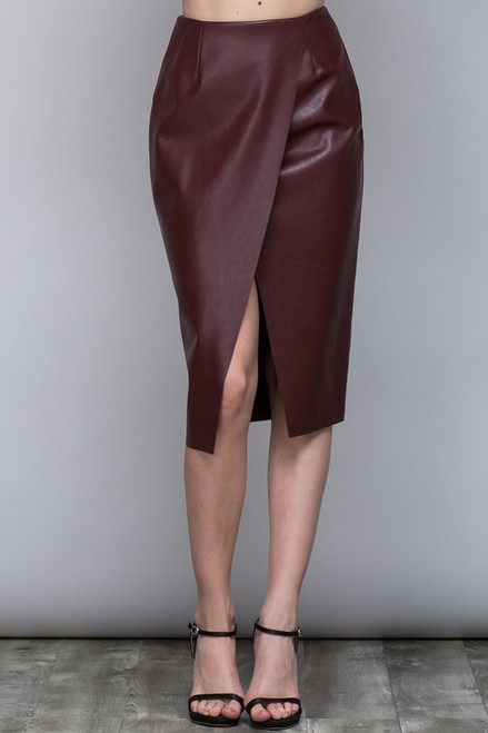 Oxblood Surplice Pleather Skirt