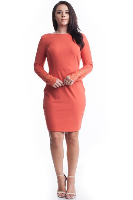 Ginger Lace Sleeve Bodycon Dress