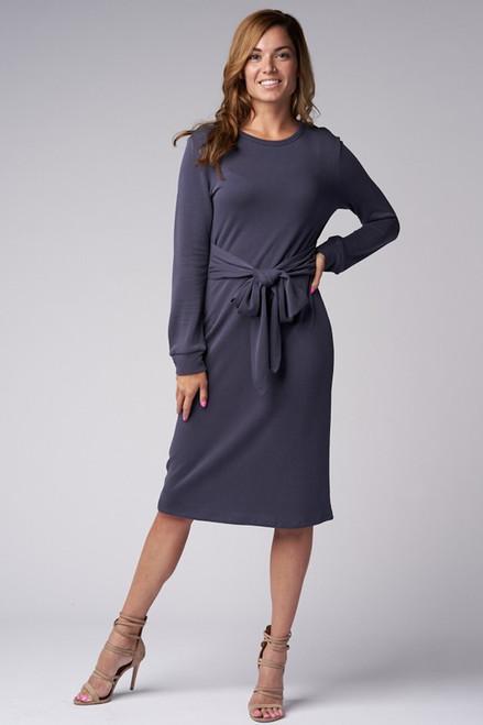 Blue Brushed Knit Sweater Dress