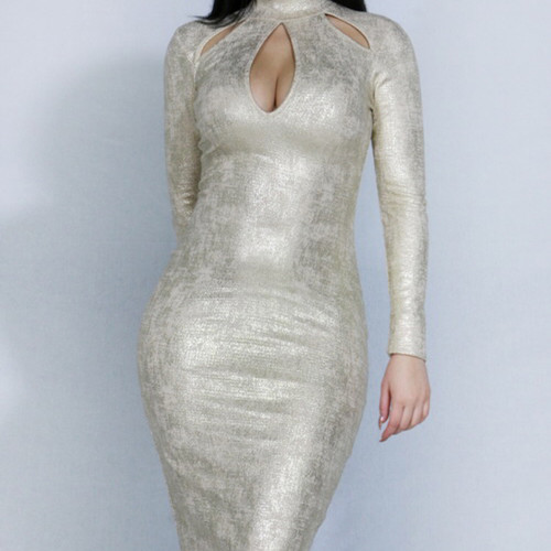 Ashe Gold Keyhole Midi Dress