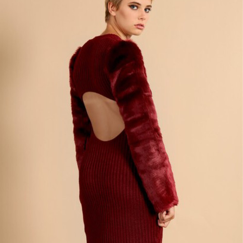 Oxblood Knit Dress With Fur Sleeves