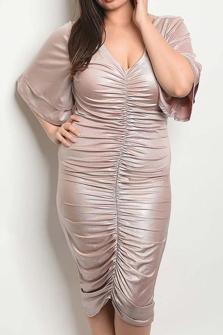 Metallic Ruched Flutter Sleeve Dress