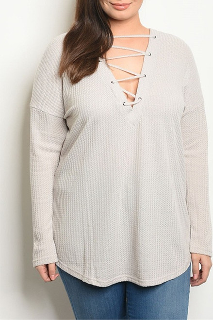 Gray Lace-Up Front Sweater