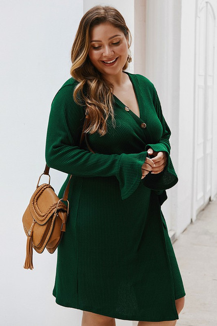 Hunter Green Button Front Ribbed Wrap Dress