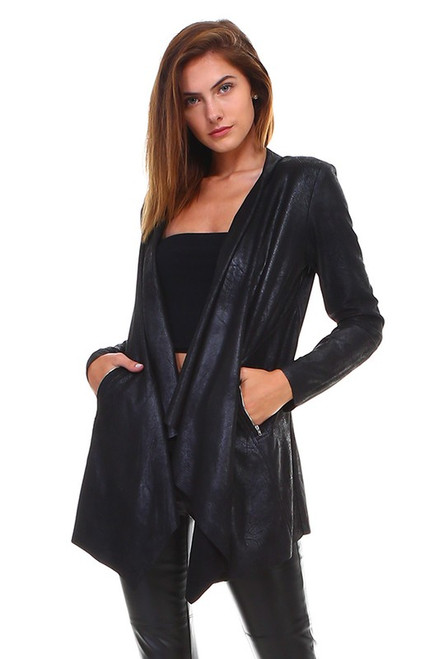 Black Distressed Shawl Faux Leather Jacket