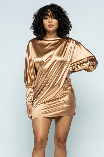 Champagne Gold Satin Dress