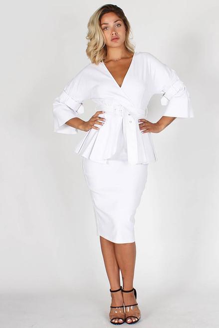 White Lantern Sleeve Dress