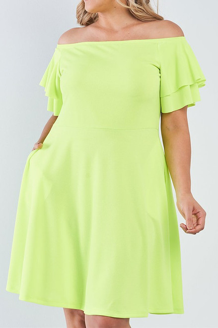 Breezy Lime Off-Shoulder Dress