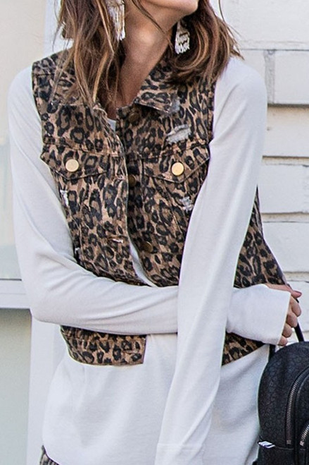 Distressed Leopard Denim Vest