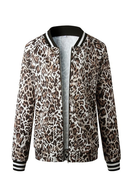 Leopard Stripe Stadium Jacket