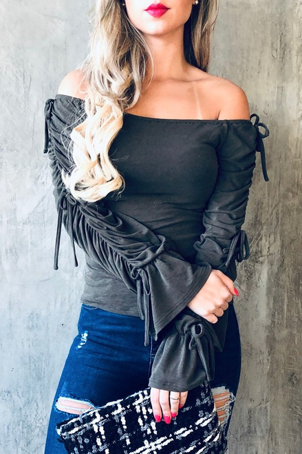 Moss Ruched Tie Blouse