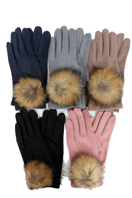Heather Fur Puff Gloves