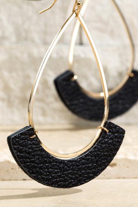 Open Tear Drop Leather Accent Earrings