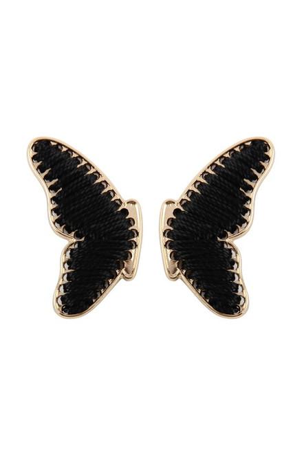 Black Woven Butterfly Studs