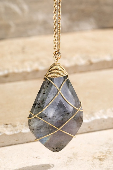 Stone Wire Wrapped Necklace